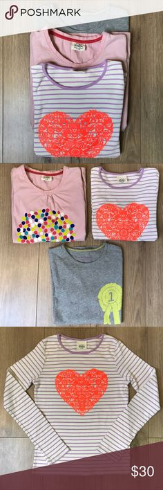 009a8b43a221 Mini Boden Girls T-shirt Bundle! Size Mini Boden Girls T-shirt Bundle  Bundle of 3 shirts Size Cotton -Grey long sleeve -Striped long sleeve -Pink  sleeve ...