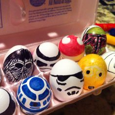 Star wars Easter eggs. The things you do for love... Cruz better not break these cascarones! My hand is cramping!