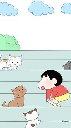 Sinchan Cartoon, Cute Bunny Cartoon, Doraemon Cartoon, Cartoon Drawings, Cute Drawings, Sinchan Wallpaper, Kawaii Wallpaper, Locked Wallpaper, Wallpaper Iphone Cute