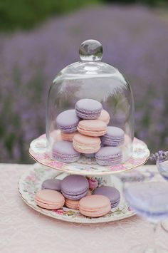 Instead of macaroons, do white chocolate (with lavender food coloring) covered Oreos. Easy.