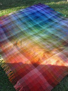 Rigid heddle woven blanket, woven in strips, made with Knit Picks Pallette yarn. Rigid heddle woven blanket, woven in strips, made with Knit Picks Pallette yarn. Loom Weaving, Hand Weaving, Circular Weaving, Textiles, Cricket Loom, Knitting Blogs, Knitting Ideas, Weaving Projects, Knit Picks