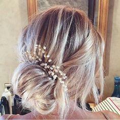 Such a beautiful romantic bridal bun worn by @laurenconrad. Love the low key chic with subtle hair piece. #beautyandthevow #bridalbun #bridalhairstyle #pretty #laurenconrad #weddingday #bride #bridalinspiration #blondebride