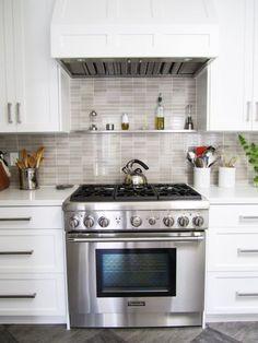Small Kitchen Ideas: Backsplash Shelves!