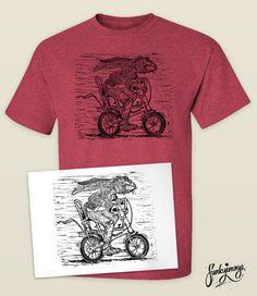 Hare Cycling Linocut T-shirt & Print Engraving Printing, Wood Engraving, Shirt Print, T Shirt, Linoprint, Chalk Pastels, Linocut Prints, Woodblock Print, Printmaking