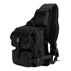 ArcEnCiel® Man Army Tactical Chest Pack Military Molle Shoulder Bags Single Shoulder Bag Outdoor Sports Motorcycle Ride Bicycle Bag (Black)