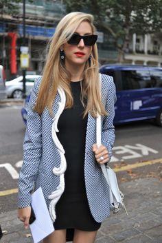 JoHillman works Brit chic in a Stella McCartney jacket #LFW #StreetStyle