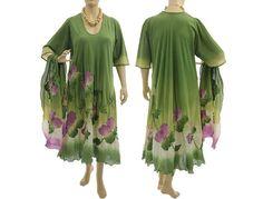 Artistic boho hand dyed maxi dress with scarf von classydress