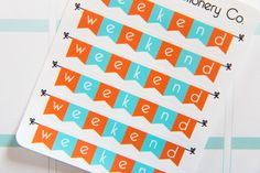 6 January Themed/Teal and Orange Weekend Banner Stickers - N10 - Oh, Hello Stationery Co.   - 1