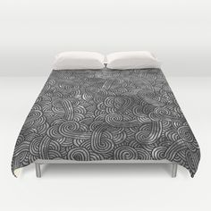 """""""Grey and black arabesques"""" Duvet Cover by Savousepate - $99.00 #duvetcover #bedroom #bedroomdecor #black #white #grey #gray #blackandwhite #scrolls #pattern #doodles #zentangle #abstract"""
