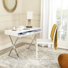 So simple, yet elegant and full of charm, the contemporary Gordon desk features x-shaped silver painted finish legs, white lacquered top, and a discreet pull-down compartment with ample room for storing a laptop, notebooks and other writing essentials.