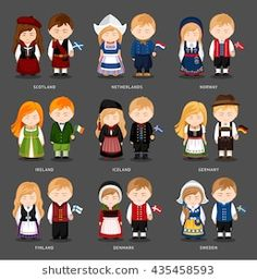 Similar Images, Stock Photos & Vectors of People National Dress Belgium Austria Hungary - 487089544 Country Costumes, European Costumes, Around The World Theme, World Festival, Westerns, People Of The World, Felt Dolls, Easy Paintings, Doll Crafts