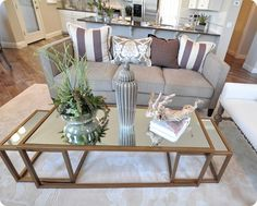 Two favorite details: the antique gold mirrored nesting coffee tables. Ikea Glass Coffee Table, Antique Coffee Tables, Living Room Decor, Living Spaces, Living Rooms, Family Rooms, Gold Nesting Tables, Home Decor Inspiration, Design Inspiration