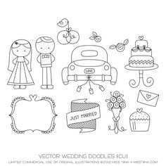 Wedding Doodles Vector Images by SugarHillCo/Miss Tiina. On sale now for $4.99.