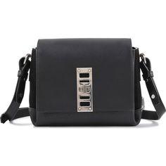 Proenza Schouler Mini Elliot Bag (£725) ❤ liked on Polyvore featuring bags, handbags, shoulder bags, black, flap bag, mini purse, black crossbody, mini handbags and black purse