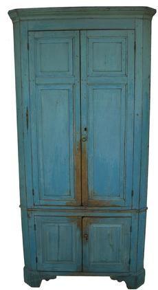 "Early 19th century Pennsylvania four door Corner Cupboard with six raised panels. Circa 1820 Measurements are: 87 1/4"" tall ( 7' 3"") x 29"" corner"