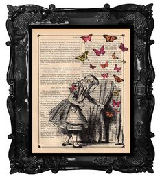 ALICE and the Key, ALICE in Wonderland Print, dictionary antique music book page. $10.00, via Etsy.