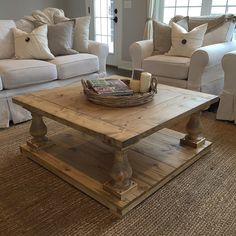 Large Square Rustic Baluster Wide Plank Coffee Table Wide plank
