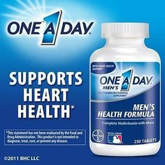 One A Day Men's Multivitamin Health Formula - 250 Tablets - http://yourpego.com/one-a-day-mens-multivitamin-health-formula-250-tablets/?utm_source=PN&utm_medium=http%3A%2F%2Fwww.pinterest.com%2Fpin%2F368450813235896433&utm_campaign=SNAP%2Bfrom%2BHealth+Guide