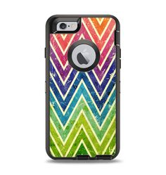 The Grunge Vibrant Green and Neon Chevron Pattern Apple iPhone 6 Otterbox Defender Case Skin Set