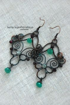 Лена Ляшевская - Парные серьги Wire Jewelry Earrings, Wire Wrapped Earrings, Seed Bead Jewelry, Seed Beads, Beaded Jewelry, Jewelry Crafts, Jewelry Ideas, Baubles And Beads, Wire Weaving