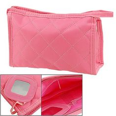 Rosallini Woman Pink Zipper Closure Small Pouch Cosmetic Case Bag Beauty  Organiser 8159f0cdbe5d6