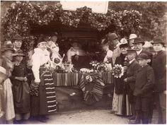 Festivities and a flower market stall, Lysekil, Sweden 1880s