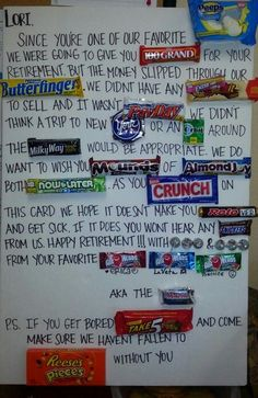 Retirement card made with candy. Military Retirement Parties, Retirement Party Gifts, Retirement Gifts For Women, Retirement Party Decorations, Teacher Retirement, Retirement Cards, Retirement Ideas, Happy Retirement, Candy Bar Cards