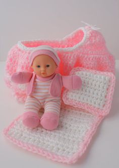 Crochet Cradle Purse  Baby Doll  Blanket and by fifthofanickel, $15.00