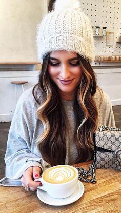 #winter #fashion /  Grey Knit + White Beanie