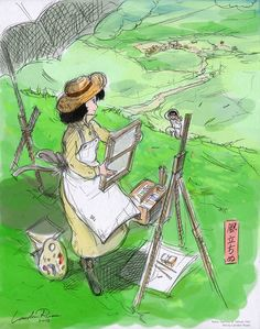 seseorang yang cantik seperti ratu sedang melukis di rerumputan yang luas dan hijau!