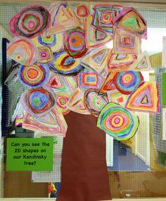 Kandinsky / 2D shapes 2d Shapes Activities, Numeracy Activities, Teaching Shapes, Teaching Art, Preschool Themes, Preschool Art, Maths Display, 2d And 3d Shapes, Math Challenge