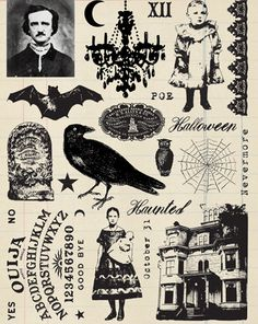 mystical nevermore scary halloween stamp set by oxfordimpressions, etsy