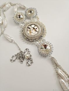 Beaded Bead, Beaded Brooch, Beaded Jewelry, Beaded Necklace, Necklaces, Bridal Jewelry, Jewelry Art, Beading Projects, Pearl Pendant