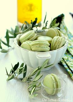 Macarons huile d'olive et vanille