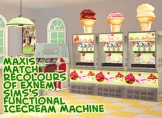 Rocket Horse Productions - Recolour: Exnem Sims's Functional Icecream Machine, Maxis Match!