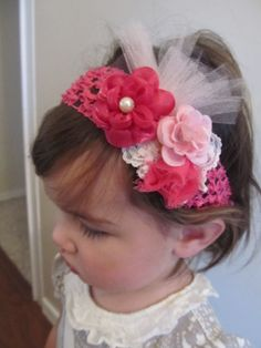 Hot pink baby headband with flowers