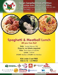 Spaghetti & Meatball Dinner Sunday February 10 at the Italian Canadian Club OF Milton  www.iccm.ca Spaghetti And Meatballs, February 10, Sunday, Lunch, Club, Dinner, Dining, Domingo, Eat Lunch