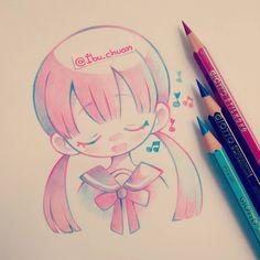 """awww~ /ú/7/u hice este sketch colorido inspirado y escuchando la canción """"I…"""