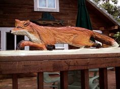 Running Red Fox 47 chainsaw wood carving wildlife by oceanarts10