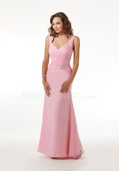 Floor Length V Neck A line Natural Waist Chiffon Sleeveless Mother of the Bride Dress