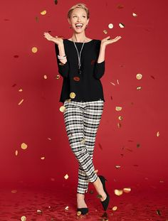 Side-zip pants in a festive black and white Sutton plaid.