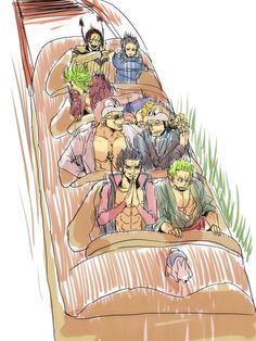 Roller coaster - Roronoa Zoro, Dracule Mihawk Hawkeyes, Crocodile, Donquixote Doflamingo, Bartolomeo, Trafalgar D. Water Law, and Donquixote Rocinante (Corazon) (Corasan, Cora-san) One Piece