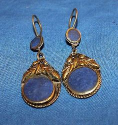 Earrings Lapis Circle Feather Afghan Kuchi Tribal Alpaca Silver 1""