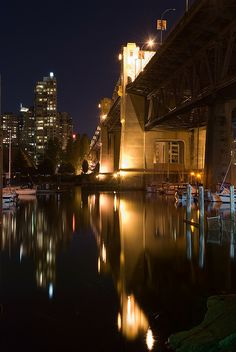 Burrard Bridge Night Reflections, Vancouver, Canada