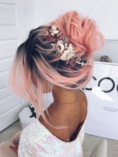 This beautiful bridal or formal gold hair band features vintage inspired champagne satin flowers, delicate butterflies and flower leaves in pink, silver and creamy colours with a touch of freshwater pearls. #pinkhair #flowercrown #flowertiara #bridalhair #messybun #ulyanaaster