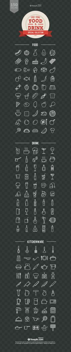 Food and Drink Free Vector Icons - - Fribly <br> A delicious freebie set for your design needs. This compilation includes 150 SVG and PNG icons distributed in food, drink and kitchenware categories. You - posted under by Fribly Editorial Icon Design, Web Design, Logo Design, Graphic Design, Png Icons, Vector Icons, Vector Free, Vector Vector, Speisenkarten Designs