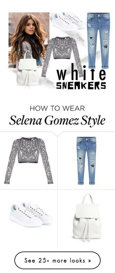 """""""White sneakers"""" by fayman on Polyvore featuring adidas, Hervé Léger, Mansur Gavriel, white, black and whitesneakers"""