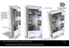 Museumsvitrine, Vitrine mit Tablets und TV