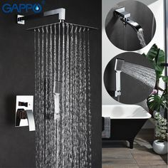"HOT PRICES FROM ALI - Buy ""GAPPO Wall bathroom shower faucet brass set bronze rainfall shower mixer tap chrome bathtub faucet waterfall Bath Shower from category ""Home Improvement"" for only USD. Bathroom Shower Faucets, Shower Mixer Taps, Shower Faucet Sets, Shower Fixtures, Steam Showers Bathroom, Shower Set, Bathtub, Bath Shower, Wall Faucet"