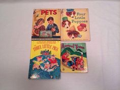 Vintage Childrens Books Lot of 4 Animal Train, Elf Books, Two-in-One 1950's